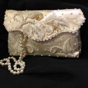Handbags - Elegant cream satin beaded evening bag